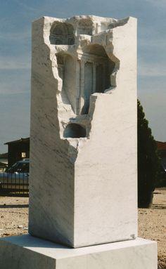 Matthew Simmonds, Hidden Landscape, Carrara marble 1999, 50 X 50 X 170cm