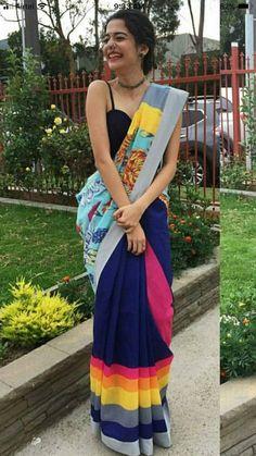 Cotton Silk Saree with Blouse Saree Draping Styles, Saree Styles, Indian Dresses, Indian Outfits, Mehendi, Sari Dress, Sari Blouse, Saree Poses, Saree Jackets