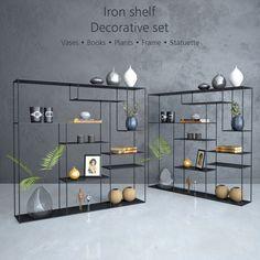 3d модели: Другие предметы интерьера - Iron shelf with decorative set