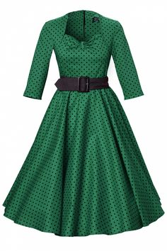 50s Momo swing dress Green Black polka dot