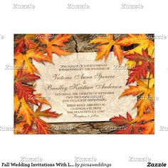 Shop Fall Wedding RSVP Card With Autumn Leaves On Wood created by Personalize it with photos & text or purchase as is! Wedding Reception Cards, Fall Wedding Invitations, Wedding Rsvp, Wedding Save The Dates, Bridal Shower Invitations, Dinner Invitations, Invites, Be My Bridesmaid Cards, Will You Be My Bridesmaid