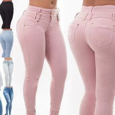 2018 mujeres de moda pantalones vaqueros de cintura alta Sexy Ladies Skinny  lápiz pantalones casual mujeres pantalones de mezclilla 7dbcf0d0116