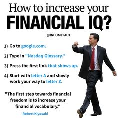 Here are ways for you to increase your financial IQ! – What are your thought… – Finance tips for small business Financial Quotes, Financial Literacy, Financial Tips, Financial Accounting, Business Money, Budgeting Money, Business Motivation, Quotes Motivation, Investing Money
