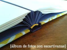 álbum de fotos con escartivanas.  taller de encuadernación artesanal + info: tiendadecuadernos@gmail.com