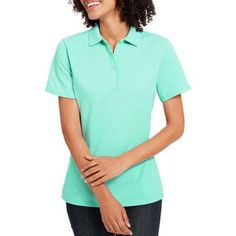 Hanes Women's X-Temp w/ Fresh IQ Short Sleeve Pique Polo Shirt, Size: Medium, Green