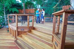 Instead of a traditional one level deck, why not create various areas for outdoor entertaining and activities with a multi-level design?