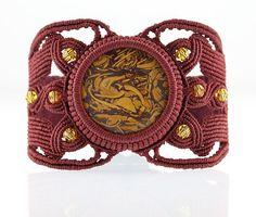 Macrame Elephant Skin Jasper Trident Bracelet