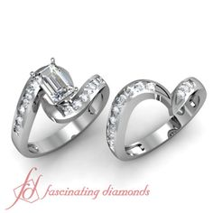 1-54-Ct-Emerald-Cut-Diamond-Engagement-Wedding-Rings-Channel-Set-14K-Gold-VVS1