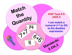 """Match the Quantity"" - I can match a numeral (11 to 20) to the doubles expression. Supports learning Common Core Standards: 2.OA.2 [KNP Task # S 2265.5]"