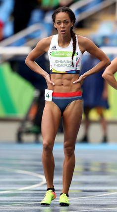 Katarina Johnson-Thompson of Great Britain reacts after competing in Women's Heptathlon 100 Meter Hurdles on Day 7 of the Rio 2016 Olympic Games at. Katarina Johnson Thompson, Fit Black Women, Beautiful Athletes, Fitness Motivation Pictures, Summer Olympics, Rio Olympics 2016, Sporty Girls, Boxing Workout, Sports Stars