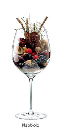 NEBBIOLO  Prune, plum, cherry, Dried figs, blackberry, almond, raspberry, orange, withered rose, hay, licorice, clove, cinnamon, juniper, anise, black pepper, caramel, leather