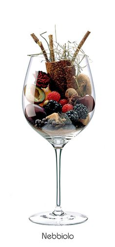 NEBBIOLO Prune, plum, cherry, Dried figs, blackberry, almond, raspberry, orange, withered rose, hay, licorice, clove, cinnamon, juniper, anise, black pepper, caramel, leather