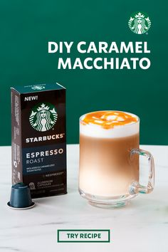 Make the café classic in your own kitchen. Just whip up a shot of espresso, grab some vanilla syrup, and froth some milk to make a Caramel Macchiato at home. Feel free to indulge your inner barista with an artistic caramel drizzle for a photogenic and delicious coffee. Starbucks Vanilla, Starbucks Caramel, Starbucks Menu, Starbucks Recipes, Starbucks Coffee, Coffee Drink Recipes, Coffee Drinks, Kombucha, Caramel Macchiato Recipe