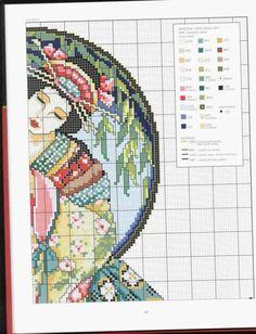 Borduurpatroon Kruissteek Vrouw *Cross Stitch Pattern Woman ~Oriental Odyssey Geisha 3/5~