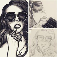 "My work in progress of one of my faves from 2014. A portrait of Lana Del Ray, 8""x11"", drawn using Uni Pin fine liners.  #drawing #workinprogress #ink #pen #unipin #fineliner #fineliners #lineart #linedrawing #illustration #illustrator #lanadelray #singer #celebrity #portrait #blackandwhite"