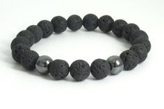 Tendance Bracelets Lava Rock / Stone and Hematite Round Bead by the3bartzdesigns