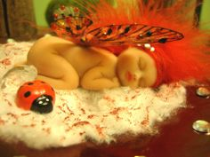 fairy baby red LADYBUG ooak art doll wing elf fantasy fairies pearl crystal Fantasy Fairies, Elves Fantasy, Polymer Clay Fairy, Clay Fairies, Baby Fairy, Paper Clay, Fairy Dolls, Magical Creatures, Pixies