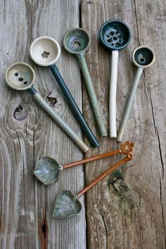 Unique handmade stoneware artisan olive spoons, made in 2 parts joined. The bowl sections were thrown individually on the wheel. The handles:- pair with a little bowl Ceramic Spoons, Ceramic Clay, Ceramic Pottery, Pottery Art, Ceramic Tableware, Ceramics Projects, Clay Projects, Earthenware, Stoneware