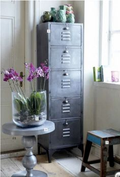 metal cabinet - love the color - gorgeous blooms