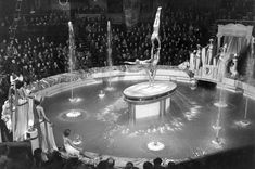 A water finale at Blackpool Tower Circus in The circus ring, when flooded, can hold up to gallons of water. (National Fairground Archive, University of Sheffield) Blackpool England, London England, Great Places, Beautiful Places, University Of Sheffield, Water Aesthetic, Billiard Room, Beach Hotels, Winter Garden