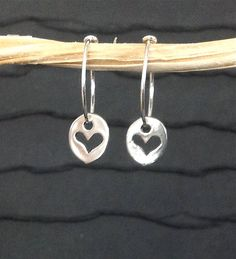 Tiny heart disc and hoop earrings 925 by WendyShrayDesigns, $24.00...Inspires me to make little hearts and heart cut outs from fimo clay for necklaces!!