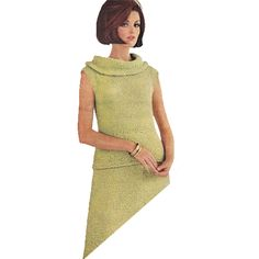 Cowl Collar Two Piece Dress Knitting Pattern.  . The green (or color of your choice) dress sports deep and wide ring collar knit on bias. Blouse fits loosely over slightly shaped skirt. It is knit on circular needles in reverse stockinette stitch.