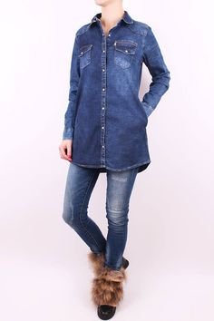 Dlhá rifľová košeľa Denim, Jackets, Shirts, Fashion, Down Jackets, Moda, Fashion Styles, Dress Shirts, Fashion Illustrations