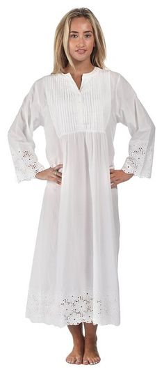 The 1 for U 100% Cotton Long Sleeve Vintage Design Nightgown - Connie - White (XX-Large)