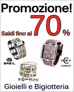 #promozione #smookiss. Cogli le nostre #offerte su #gioielli e #bigiotteria #breil , #cerruti , #zoppini , #crystalblue . #saldi fino al 70%