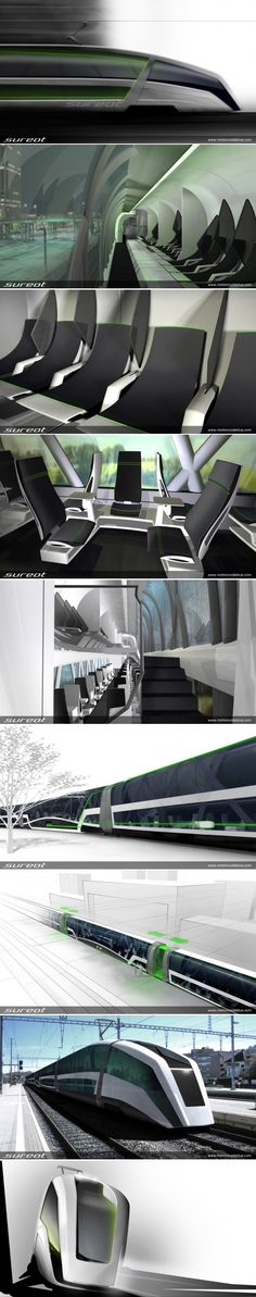 The Sureot passenger train concept has a structure where the exterior reflects the organization of the train. At the ground level the train depicts work and communication; upper level depicts relaxation and tranquility and as well as clearing in the middle. The variety of design thought leads to a feeling of open space eventually giving a generous feeling of travel. No more narrow doors and the aisles, as the train stretches and offers wide entrance spaces on reaching a station.