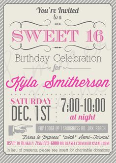 Custom Color Printable Sweet 16 Invitation by SummerRaine on Etsy, $20.00
