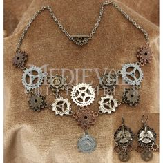 Steampunk Multi-Gear Necklace and Earring Set - LU14005 by Medieval Collectibles