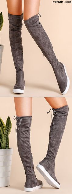 Grey Round Toe Tie Back Over The Knee Boots. Flat OTK boots with sneaker soles.