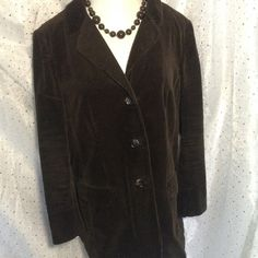 J. Jill Chocolate Brown Corduroy Blazer Jacket This is a LARGE PETITE.  An excellent classic addition to any wardrobe.  Looks great open or buttoned, dressed up for work or more casual with jeans.  Faux side pockets.  100% Cotton Machine Wash. J. Jill Jackets & Coats Blazers