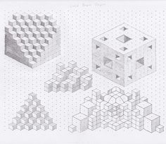 drawings on isometric dot paper, pencil Isometric Shapes, Isometric Grid, Isometric Drawing, Isometric Design, Oblique Drawing, Graph Paper Drawings, Dotted Drawings, Graph Paper Art, 3d Drawings