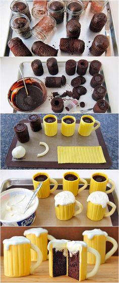 Chocolate Beer Mug Cakes, fun! :)