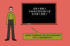 2/3 + 3/6 = 1-m.m.c.(3 e 6) = 6 2-4/6 + 3/6 =   agora escrevemos frações equivalentes  com o denominador 6
