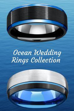 Mens blue tungsten wedding rings. For the future husband who loves the ocean and the great outdoors. Modern designed mens wedding rings with a hint of blue.