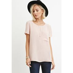 Forever 21 Forever 21 Women's  Pocket Chiffon Top ($13) ❤ liked on Polyvore featuring tops, forever 21, woven top, chiffon top, pink chiffon top and pocket tops
