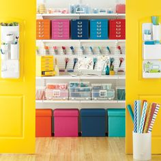 A colorful way to get those creative juices flowing. Products Shown: Poppin Box Seats Art Bins Bisley 5 Drawer Cabinets elfa Shelving Craft Room Closet, Craft Room Storage, Kids Storage, Media Storage, Shop Storage, Storage Boxes, Storage Organization, Display Boxes, Organization Ideas