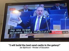 Swedish TV accidentally puts subtitles from a kid's show over a political debate :D