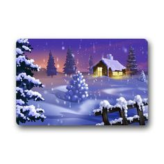 Custom Evergreen Fashion Winter Landscape Wonderful Snow Night Machine Washable Doormat Personalized Gate Pad Rug 23.6