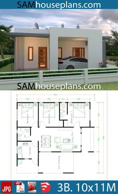 House Plans with 3 Bedrooms - Sam House Plans Guest House Plans, 3d House Plans, Home Design Floor Plans, Bedroom House Plans, Dream House Plans, Modern House Plans, Small House Plans, Bungalow Haus Design, Modern Bungalow House