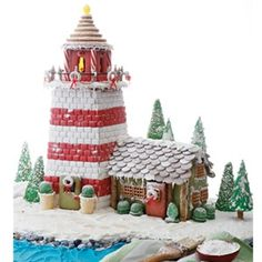 Coastal Gingerbread Lighthouse Ideas, Recipes & Templates - Coastal Decor Ideas Interior Design DIY Shopping If the holiday season is not complete for you without a gingerbread house, make a coastal gingerbread lighthouse! Here are some great ideas,. Gingerbread House Template, Cool Gingerbread Houses, Gingerbread House Designs, Gingerbread House Parties, Christmas Gingerbread House, Christmas Cookies, Christmas Baking, Christmas Bounty, Gingerbread Village