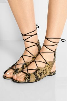 black/beige lace-up snake-effect leather sandals