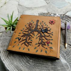 Anatomical Lungs Leather Diary Healing Diary Art Journal With