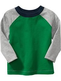 Long-Sleeved Color-Block Tees for Baby