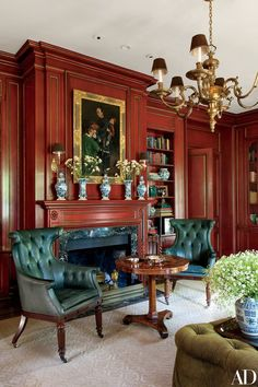 Wing chairs, classic home decor, classic interior, english interior, archit Fireplace Mantel Decor, Home Library Design, Traditional Interior, Interior Spaces, Home Decor, House Interior, Architectural Digest, English Interior, Red Rooms