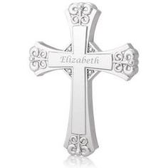 Personalized Engraved Elegant Silver Wall Cross