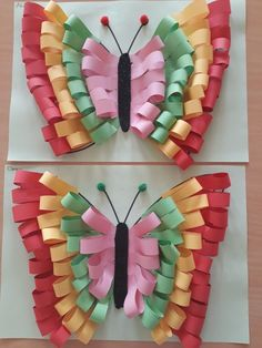 Love this butterfly made with paper strips! Art Projects for craft paper art - Paper Crafts Origami Butterfly, Butterfly Crafts, Butterfly Art, Paper Butterflies, Rainbow Butterfly, Valentine Crafts For Kids, Summer Crafts, Easter Crafts, Preschool Crafts
